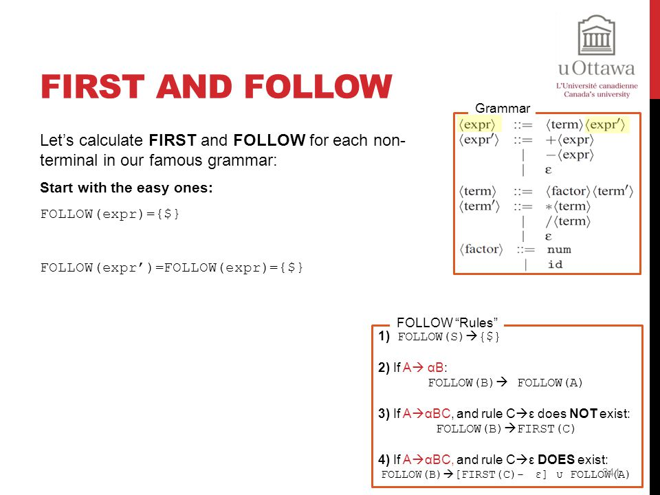 FOLLOW(B)[FIRST(C)- ε] υ FOLLOW(A)